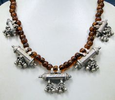 Vintage tribal antique ethnic old silver prayer box pendants (5) necklace chain from the regions of Rajasthan India used by the banjara tribal women strung with old glass beads...