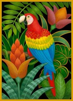 Macaw and Flowers by Stephanie Stouffer Tropical Birds, Tropical Art, Arte Pallet, Jungle Art, Colorful Parrots, Illustration, Bird Drawings, Naive Art, Fabric Painting
