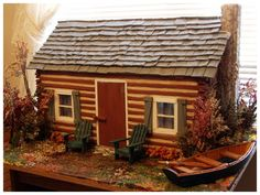 Chester's Retreat Cabin Mini Cabins, Log Cabins, Small Cabins, Little Cottages, Cabins And Cottages, Village Houses, Bird Houses, Petits Cottages, Cabin Dollhouse