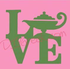 Cute little sign in Dee Zee colors. stencil, works perfectly with our New Stencil. #dee zee, #delta zeta, #lamp, #love, #sorority, #greek, #little sister, #diygreek, #big sister, #stencil, #sister #craft, #idea