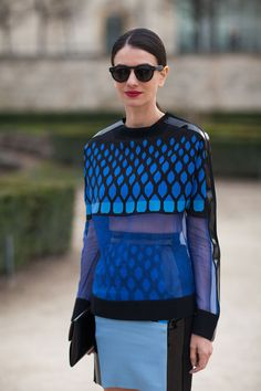 This blue on blue combination is graphic print at its best    Street Style Fall 2013: Paris Fashion Week - Harper Bazzar