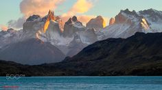 Los Cuernos at sunrise - Torres del Paine National Park Patagonia Chile | by Itamar Campos. [2048x1148]