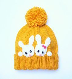 Kids Bunny Hat Knit Rabbit hat Girls Winter Spring Beanie by 2mice