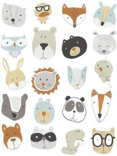 June Erica Vess Friendly Faces Canvas Art - 27 x Canvas Art, Canvas Prints, Art Prints, Big Canvas, Animal Faces, Art Plastique, Face Art, Pet Portraits, Cute Drawings