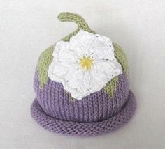 Boston Beanies Lavender Flower Hat Knit Cotton by BostonBeanies, $28.00