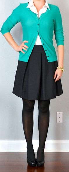 outfit post: black a-line skirt, white button down shirt, green cardigan (Outfit Posts) Green Cardigan Outfit, Cardigan Outfits, Skirt Outfits, Fall Outfits, Cute Outfits, Turquoise Cardigan, Pink Cardigan, Green Sweater, Work Outfits