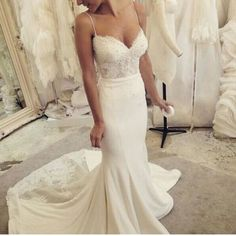 Vintage sweetheart wedding dresses, spaghetti straps wedding dress, sexy lace pearl mermaid wedding dresses