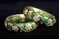 Antique Kundan Bangle gold silver diamonds enameled