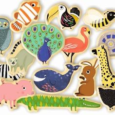 Djeco Magnetics Magnimo Fridge Magnets feature 42 painted Wooden Animal Magnets. Grab a set of these gorgeous magnets for your fridge.
