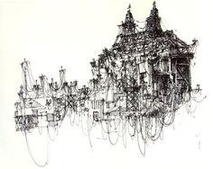 City of Wires - sketches by Ksymena Borczynska, via Behance