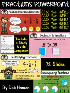 Fractions and Decimals PowerPoint focusing on the 4th Grade Common Core State Math Standards (adding, subtracting, & multiplying fractions; mixed numbers; improper fractions; decomposing fractions; introduction to decimals).  The PowerPoint contains 72 slides and includes a study guide companion for students to write on as you advance through the PowerPoint slides.  5 exit tickets are included, too!