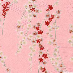 Chirimen - Blossom Breezes - Spun Sugar Pink/Gold; #quilting, #fabric, #design