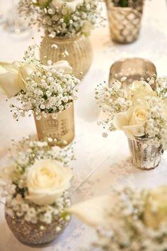 Gold White Flowers Baby Breath Tables Centrepiece Classic Chic Simple Elegant Champagne Wedding Diy Centerpiece Ideas Pinterest Table Decor Do It Yourself Ce #churchweddingideas #weddingflowers #weddingdecoration