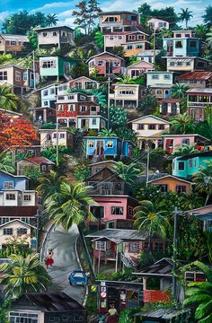 THE HILL     Trinidad  Painting  - THE HILL     Trinidad  Fine Art Print -- Reminds me of my Home!