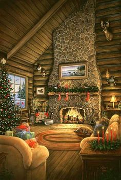 Sam Timm ~ country cabin interior ~ Christmas ~ fireplace