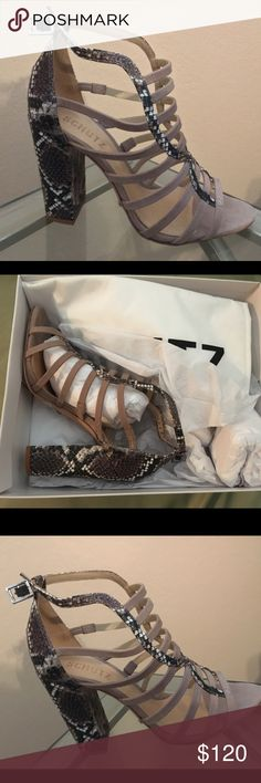 """Never being worn! Gorgeous Schutz Original Heels, Size 7.5, Never being worn, still with labels and on original box. Perfect for a Night Out! Fits perfect on feet giving a nice touch 👌🏼 Heel height is 4"""". Material is leather and embossed leather. SCHUTZ Shoes Heels"""