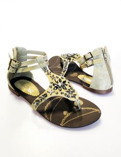 Camel Studded Floral Sandal < Sexy Shoes
