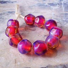 Handmade Silver Glass Lampwork Beads 5 pcs by NataliaKorolyuk, $18.30