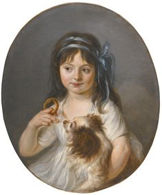 ATTRIBUTED TO LOUIS-ROLAND TRINQUESSE PARIS 1745 - 1800 PORTRAIT OF A GIRL OFFERING A BISCUIT TO HER SPANIEL