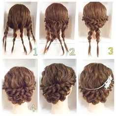This pigtail hairstyle is beautiful. I will do that for sure – Haare Stil – Wedding HairStyles Medium Hair Styles, Curly Hair Styles, Natural Hair Styles, Updos For Curly Hair, Braided Updo For Short Hair, Messy Braided Hairstyles, Hair Arrange, Hair Dos, Hair Designs