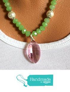 Handmade Necklace Silver Chain and Green Crystals Pink Pendant http://www.amazon.com/dp/B01G0ZYK3G/ref=hnd_sw_r_pi_dp_M6Kqxb0VB38WG #handmadeatamazon