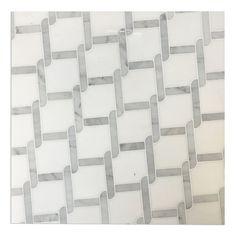 White Thassos and Carrara White Marble Waterjet Mosaic Tile in Princess Weave – Marble Bathroom Dreams Carrara Marble Bathroom, Backsplash Arabesque, Marble Mosaic, Mosaic Tiles, Marble Floor, Kitchen Backsplash, Backsplash Ideas, Tile Ideas, Bathroom Countertops