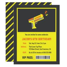 Dotted easter photo invitation yellow laser tag gun birthday party invitations kids birthday party gift idea child negle Choice Image
