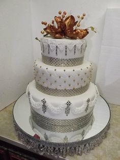 """Glam"" Wedding Cake  in Silver, White and Gold  ~ This wedding cake  will be featured in a  48 hours wedding TV show"
