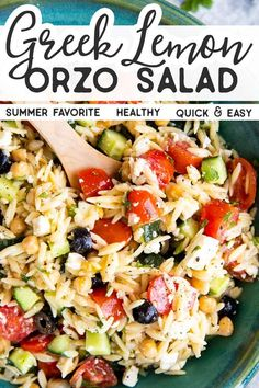 With a zippy Greek dressing and filled with fresh summer vegetables, this Greek Orzo Salad is going to be the biggest hit at all your BBQs. Serve as a side dish with grilled meat, or by itself as a light and healthy lunch! Lemon Orzo Salad, Greek Orzo Salad, Orzo Salad Recipes, Pasta Salad Italian, Orzo Pasta Salads, Summer Dishes, Summer Salads, Giada De Laurentiis, Orzo Salat
