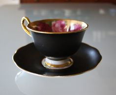 Old English rose with black matte finish-Ryal Albert is my favorite-there are so many lovely patterns that make taking tea delightful(lol)