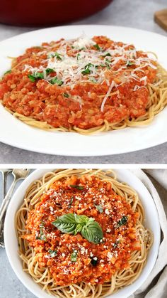 Craving for a big bowl of pasta? Try this cauliflower bolognese sauce recipe with its meatless sauce made of cauliflowers and lentils! Served the cauliflower bolognese over whole wheat spaghetti and added fresh basil and Parmesan cheese and you're done! Veg Recipes, Sauce Recipes, Pasta Recipes, Italian Recipes, Cooking Recipes, Healthy Recipes, Vegetarian Recipes Videos, Meatless Recipes, Beste Bolognese