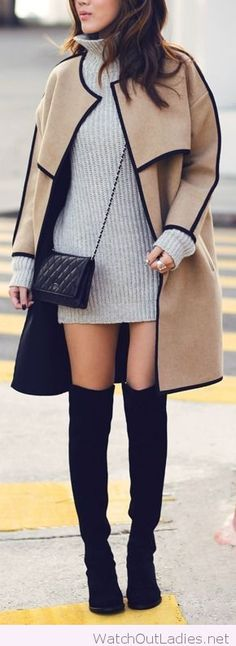 Grey dress and nude coat