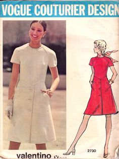 70s VALENTINO Coat Dress Pattern Vogue Couturier Design 2730 Front Button Trim Mod A Line Dress Size 12 Bust 34 inches UNCUT Factory Folds on Etsy, $49.25 AUD