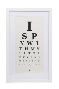 Heal's | 'I Spy' Eye Chart Framed Print - Typography - Art - Accessories
