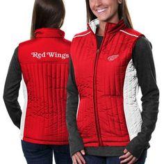Detroit Red Wings Ladies Rally Full Zip Vest - Red/White