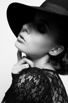 i love the hat, makeup, lace, black and white... Caroline Deisler @ Muse NY | Nando Esparza #photography