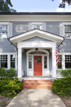 Traditional Front Door with Transom window, exterior brick floors, Glass panel door, Arched window, Pathway Colonial House Exteriors, Colonial Exterior, Colonial Style Homes, House Paint Exterior, Exterior Paint Colors, Exterior House Colors, Exterior Doors, Exterior Design, Dutch Colonial