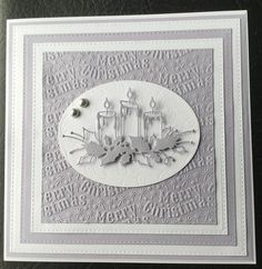 By Dianne Potter:Sue Wilson for Creative Expression Noble Double Pierced square dies,Memory Box Glowing Candles die,Crafter's Companion Vintage Christmas embossing folder