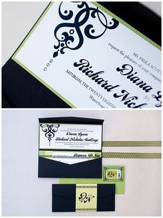 These elegant black invitations were designed as a tea length pocket. Black paired with lime green invitations were designed with vintage fonts. A damask like graphic was used and this wedding invitation with crystal has three black crystals hanging from the graphic.  The unique envelopes had a vintage frame around custom postage. Click through to see more photos or pin for later!
