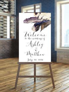 Printable Wedding Sign, Welcome Wedding Sign, Feather Wedding Sign, Boho wedding Sign, Rustic Weddin Rustic Wedding Signs, Boho Wedding, Wedding Dress, Garden Wedding, Trendy Wedding, Dream Wedding, Creative Wedding Ideas, Diy Wedding Favors, Diy Invitations