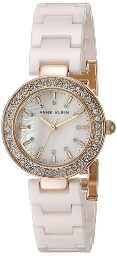 Anne Klein Women's AK/1986RGLP Swarovski Crystal Accented Light Pink Ceramic Bracelet Watch >>> Click image to review more details.