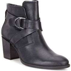 ECCO Women's Shape 55 Mid Cut Black Dress Shoes (£145) ❤ liked on Polyvore featuring shoes, boots, ankle booties, black, black leather ankle booties, leather platform boots, black platform booties, black platform boots and platform ankle booties