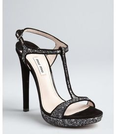 A Girl Has Got To Accessorize! / Miu Miu Black and Silver Glitter Suede Strappy Heel Sandals |Black Heels|