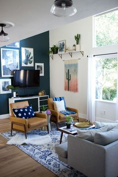 ORC Week 6: Bohemian Eclectic Family Room Reveal with Rugs USA's Arabella Botanic Garden MM05 Rug!
