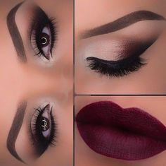 Beautiful smokey look with dark lips <3