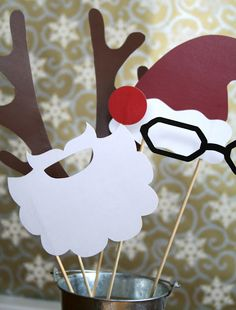 Photo props for a Christmas party (this will be perfect for our tacky christmas party next year!)