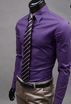a263ef13a09 Men s Plus Size Solid Purple Wine Pink Shirt