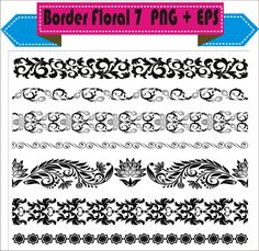 Border Floral Flowers Vintage Corner Retro Vector Clipart PNG EPS Set Digital Files Transparent Scrapbook Supplies Clip Art Instant Download by VectorArtShop on Etsy