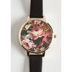 After Flowers Watch by Olivia Burton from ModCloth ($125) ❤ liked on Polyvore featuring jewelry, watches, accessories, black, polish jewelry, floral watches, black gold jewelry, gold jewelry y gold jewellery