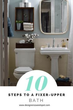 10 Steps to a Fixer Upper Style Bathroom is a budget friendly list of things you can decorate with to bring out that farmhouse look. Small Bathtub, Small Bathroom, Bathroom Ideas, Bathroom Inspiration, Bathrooms, Small Toilet, Trendy Home, Bathroom Shelves, Bath Design